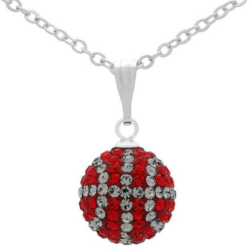 QQ-M-BB-N-LTSIA-BLKDIA: Game Time Bling Mini Basketball Necklace - Lt Siam/BLK DIA