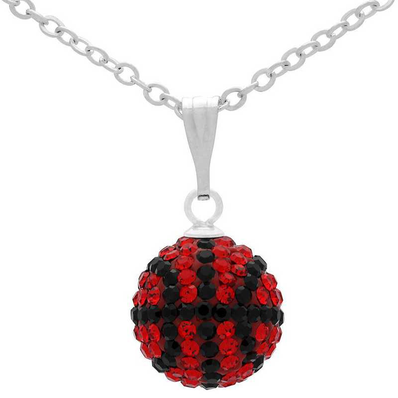 QQ-M-BB-N-LTSIA-JET: Game Time Bling Mini Basketball Necklace - Lt Siam/Jet