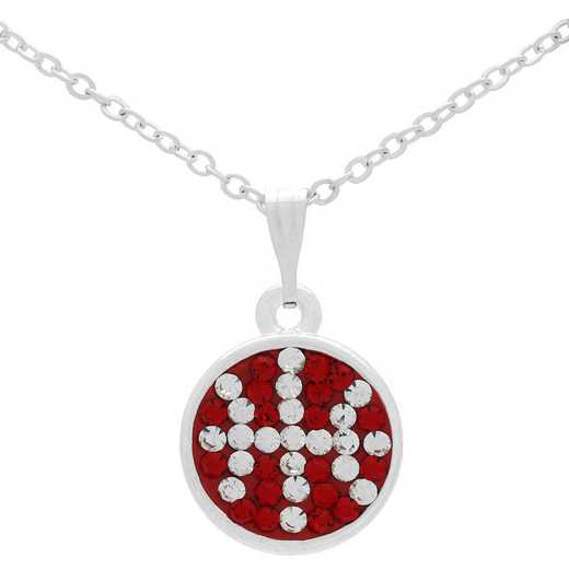 QQ-M-DANG-BB-N-LTSIA-CRY: Game Time Bling Basketball Dangle Necklace - Lt Siam/CRY