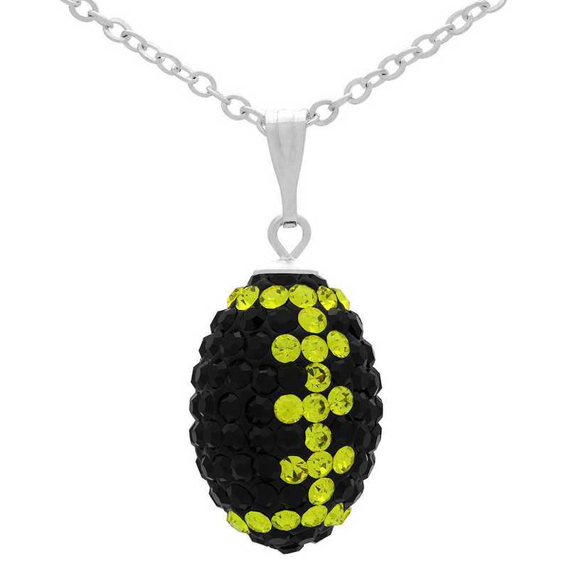 QQ-M-FB-N-JET-CIT: Game Time Bling Mini Football Necklace18