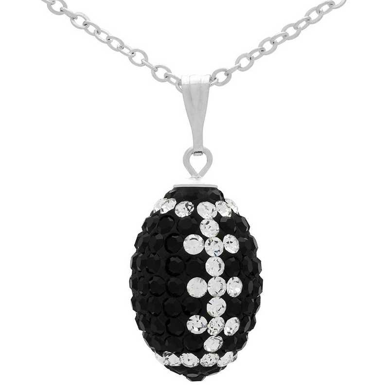 QQ-M-FB-N-JET-CRY: Game Time Bling Mini Football Necklace18