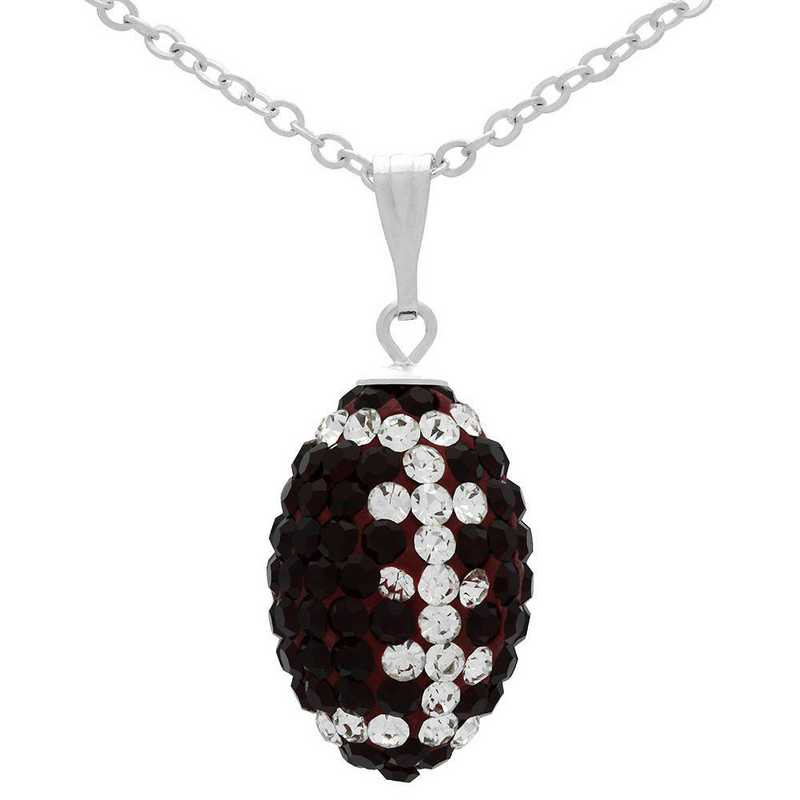 QQ-M-FB-N-SIA-CRY: Game Time Bling Mini Football Necklace18