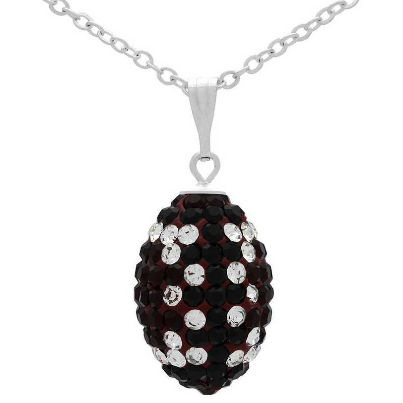 QQ-M-FB-N-SIA-JET-CRY: Game Time Bling Mini Football Necklace18