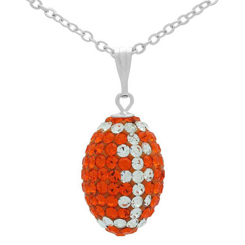 QQ-M-FB-N-SUN-CRY: Game Time Bling Mini Football Necklace18