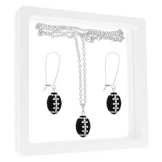 QQ-MINIFBSET-JET-CRY: Game Time Bling Mini Football NECK/ERRNG GFST - Jet/CRY