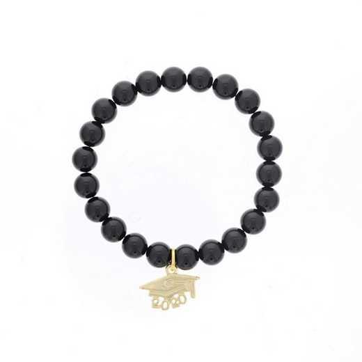 DBJ-BRC-2802SBA: Gold tone Pewter Grad. hat charm with  shiny black agate
