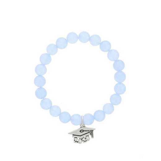 DBJ-BRC-2803BBQ: Silver tone Pewter Grad. hat charm with  baby blue quartzite