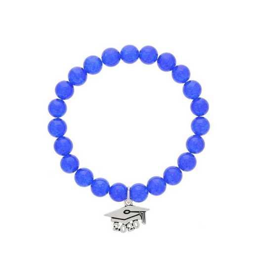 DBJ-BRC-2803BQ: Silver tone Pewter Grad. hat charm with  blue quarzite