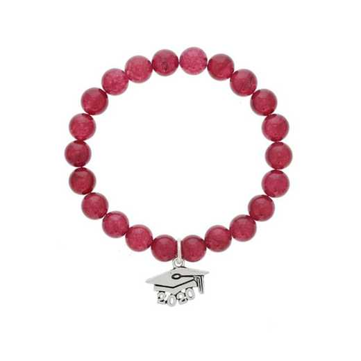 DBJ-BRC-2803RBY: Silver tone Pewter Graduation hat charm with 8mm ruby agate
