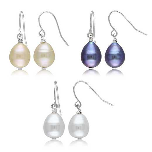 BAL000280: 3PC Dangle Earrgs ST Wht Pk /Blk FreshwaterCltrd Pearls