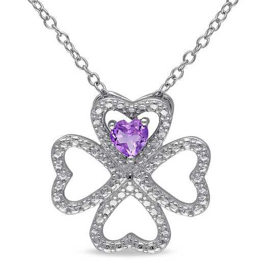 BAL000179: Amethyst Clover Heart Necklace  Sterlg Silver