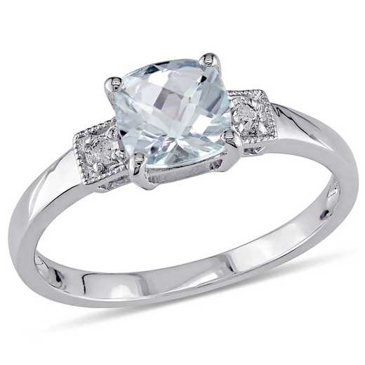 Diamond Accent and Aquamarine Cushion Cut Ring in Sterling Silver