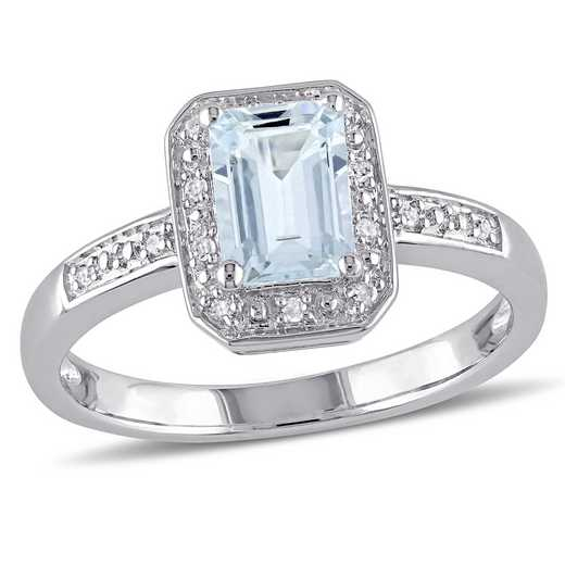Diamond Accent and Aquamarine Emerald Cut Halo Ring in Sterling Silver