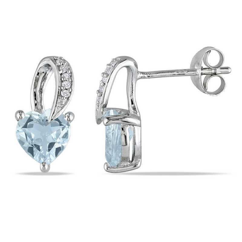 BAL000295: Aquamare  Dmnd-Accent Heart Swirl Earrgs  Sterlg Silver