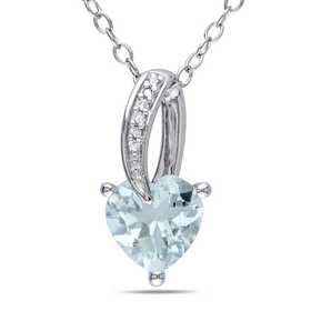 BAL000294: Aquamare  Dmnd-Accent Heart Necklace  Sterlg Silver