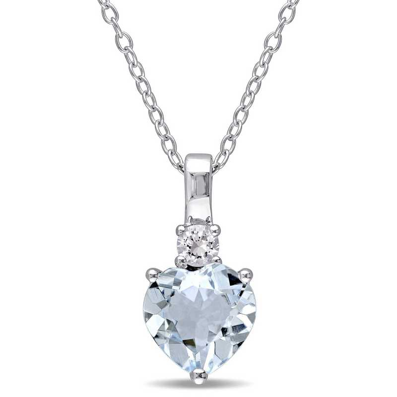 BAL000303: Aquamarine Wht Sapphire Heart Neck in Sterling Silver