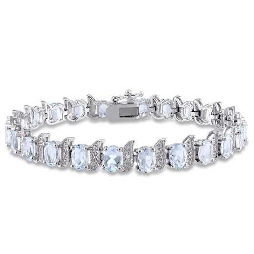 BAL000306: Aquamare  Dmnd-Accent S-Lk Bracelet  Sterlg Silver