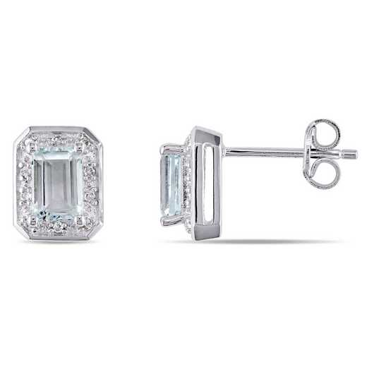 BAL000286: Emerald Cut Aquamarine 1/10CT TW Dmnd EarSterlingSilver