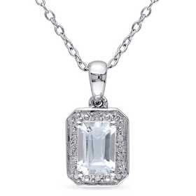 BAL000287: Emerald Cut Aquamarine Dmnd Accent Nck Sterling Silver