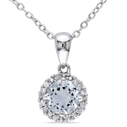 BAL000290: Aquamare  Dmnd-Accent Halo Necklace  Sterlg Silver