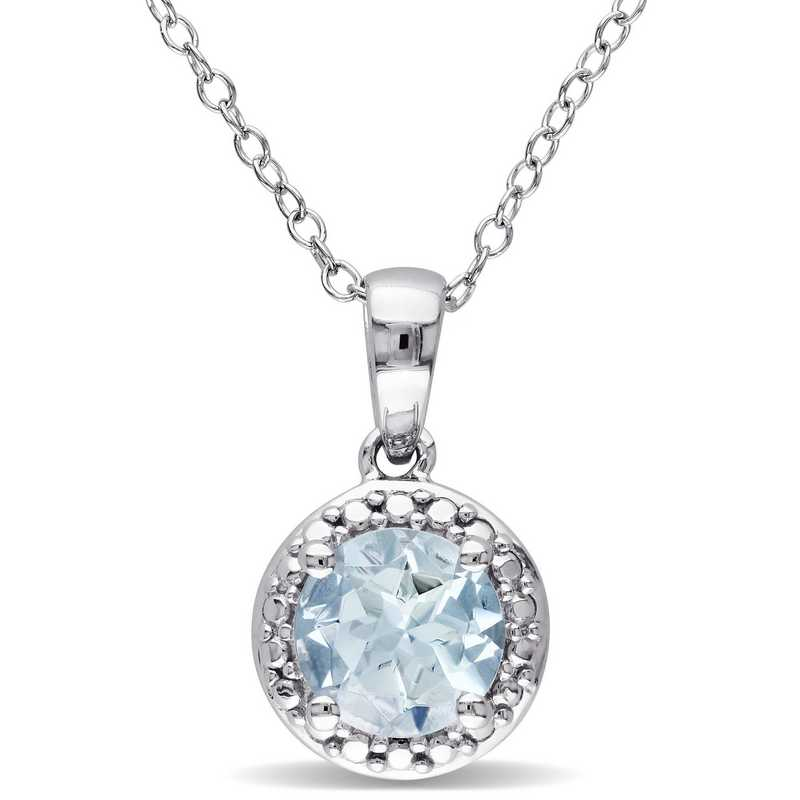 BAL000301: Aquamarine Halo Necklace in Sterling Silver
