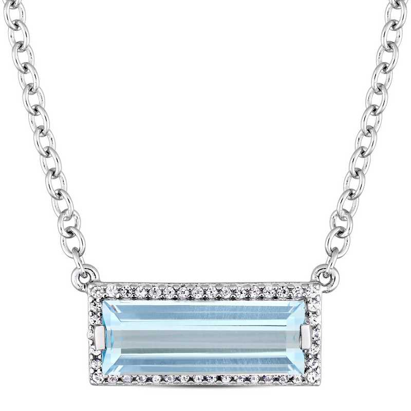 BAL000259: 925 5x14MM BAG BLU TOPAZ/WHSAPP HALO NECK - White