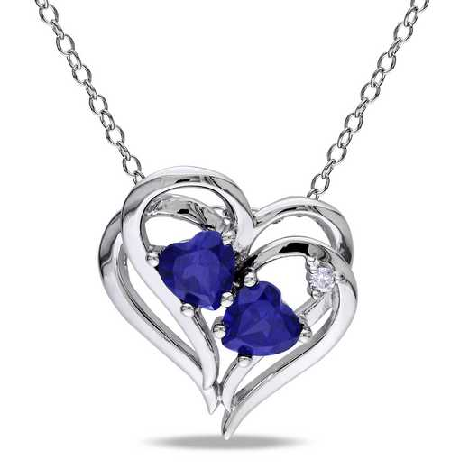 BAL000218: 925 5MM CR BLU SAPP/DIA ACCNT HEART SHP NECKLACE