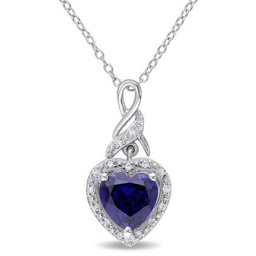 BAL000231: 925 8MM CR BLUE SAPH/DIA ACCNT HEART TWIST PENDT