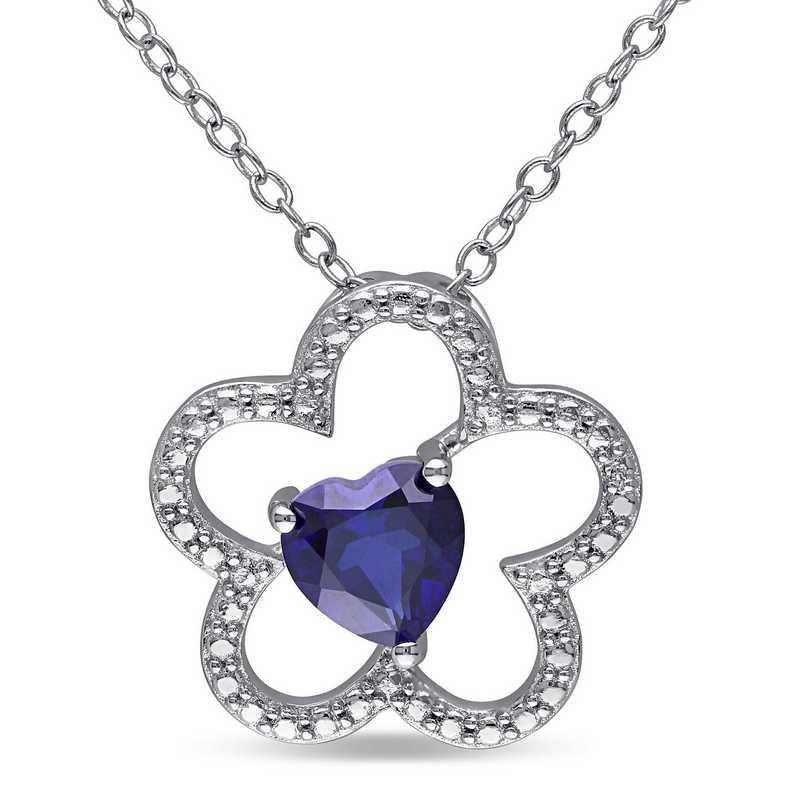 BAL000184:  Blue Sapphire Flower Heart Necklace SS