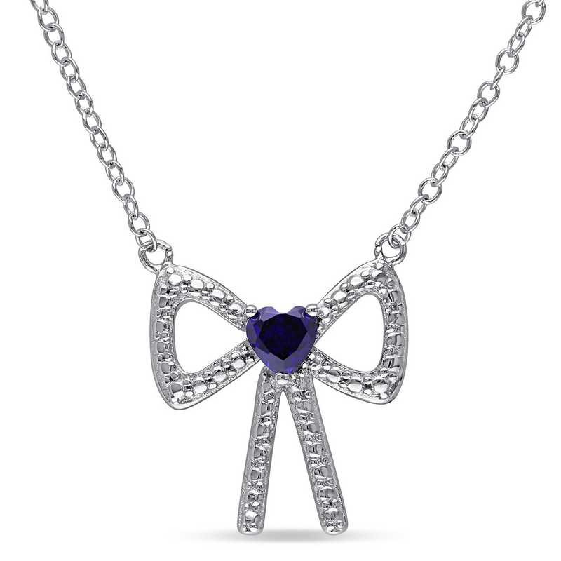 BAL000191:  Sapphire Bow Heart Necklace  Sterlg Silver