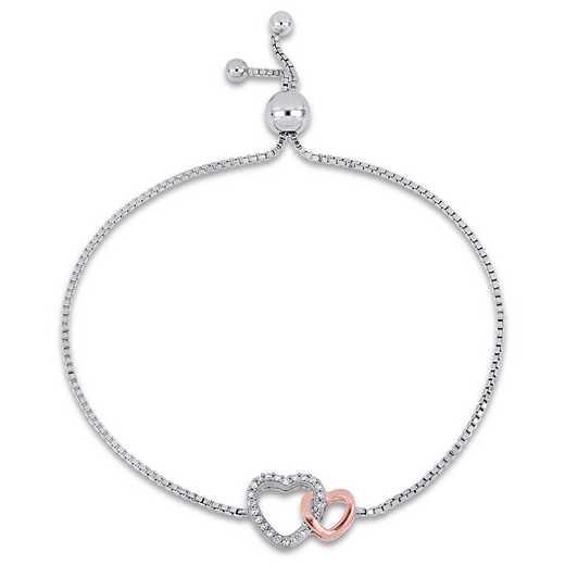 BAL000442: 1/10 CT TW Damnd Heart Bolo Bracelet Two-Tone SS