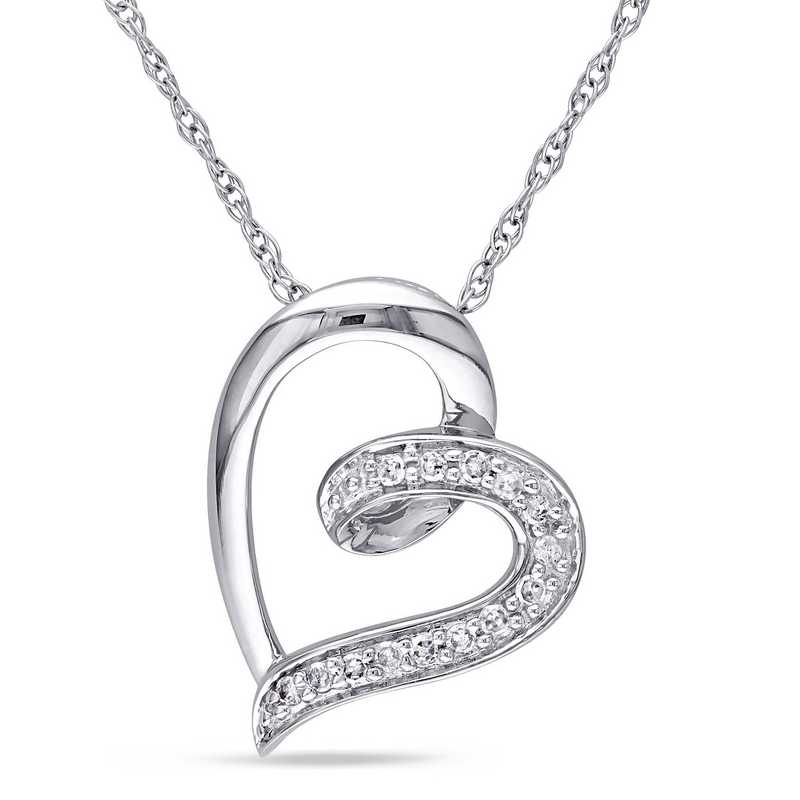 BAL000214: 10KWG DIA ACCNT HEART SHAPED NECKLACE