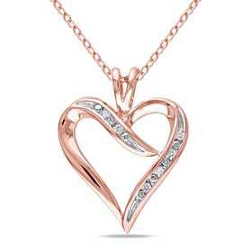 BAL000402: Diamond-Accent Heart Necklace iRose Plated SS