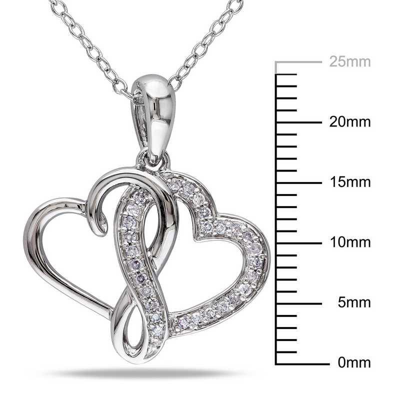 1//7 CTTW Sterling Silver White Diamond key necklace pendant
