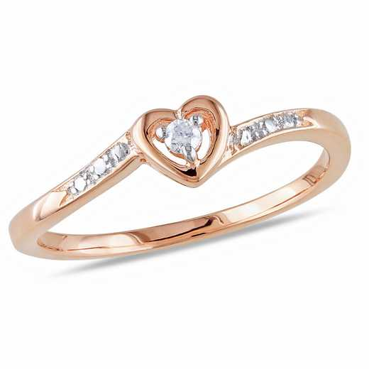 Diamond-Accent Heart Ring in Rose Plated Sterling Silver