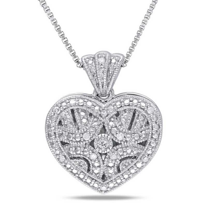 BAL000414: Diamond-Accent Heart Locket Necklace  Sterlg Silver
