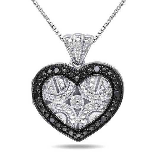 BAL000415: Black Diamond-Accent Heart Locket Ncklace Sterlg Silver