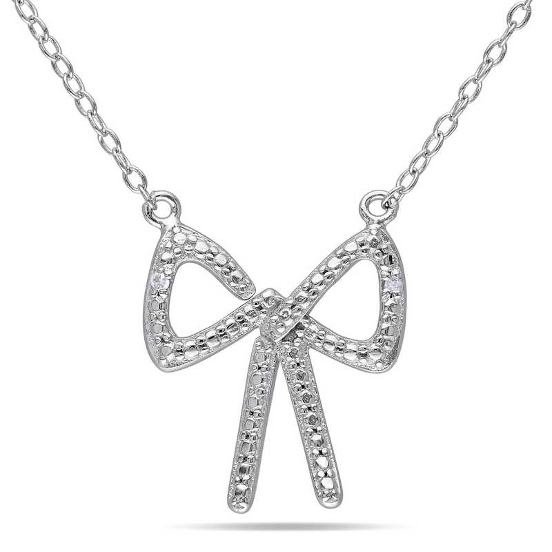 BAL000168: Diamond-Accent Bow Necklace  Sterlg Silver