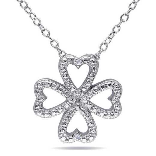 BAL000172: Diamond-Accent Clover Heart Necklace  Sterlg Silver