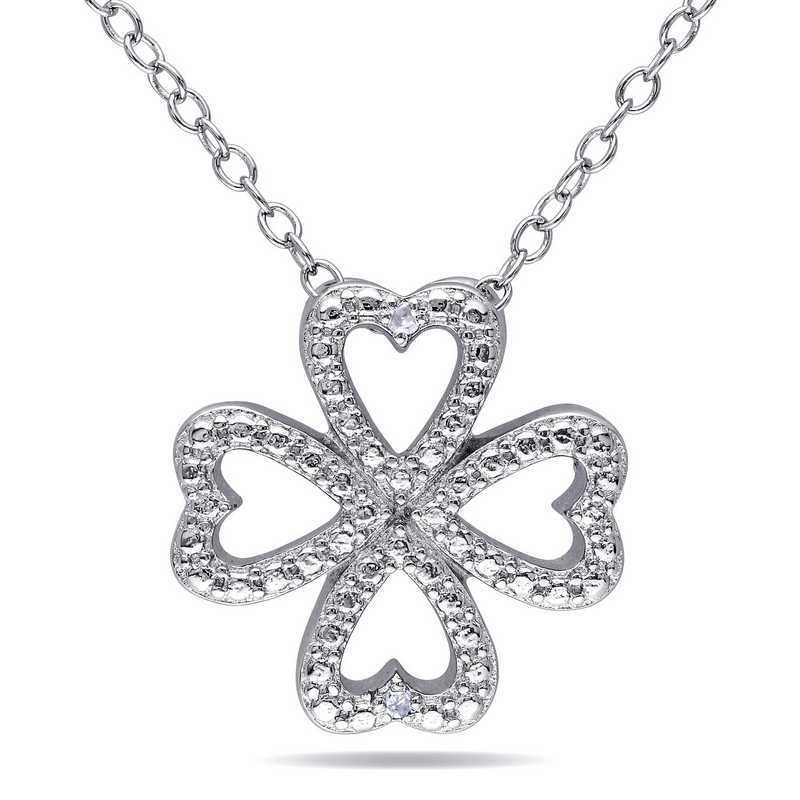 BAL000172: Diamond-Accent Clover Heart Necklace  Sterlg Silver