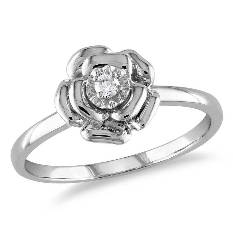 Diamond-Accent Flower Ring in Sterling Silver