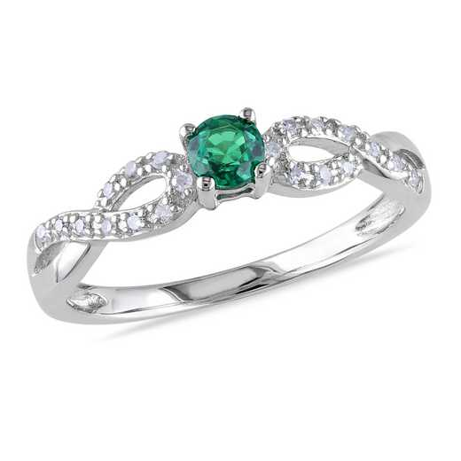 Diamond Accent and Created Emerald Infinity Ring in Sterling Silver
