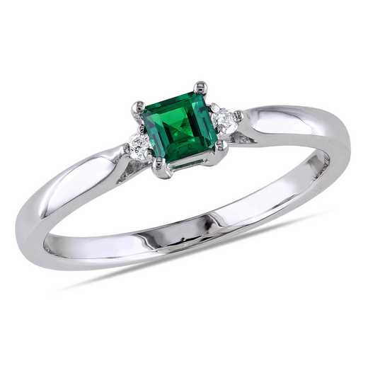 Diamond Accent and Created Emerald Princess Cut Ring in Sterling Silver