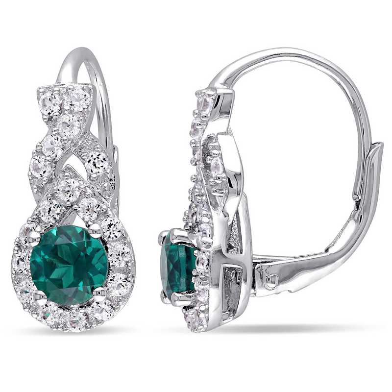 BAL000316:  Emerald   Wht Sapphire Halo Twist Earrgs  SS