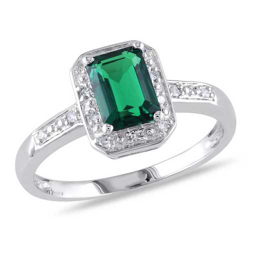 Created Emerald and Diamond Accent Emerald Cut Halo Ring in Sterling Silver