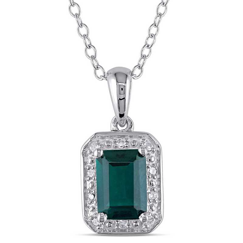 BAL000308: Emerald Cut  Emerald Diamond-Accent Halo Necklace in SS