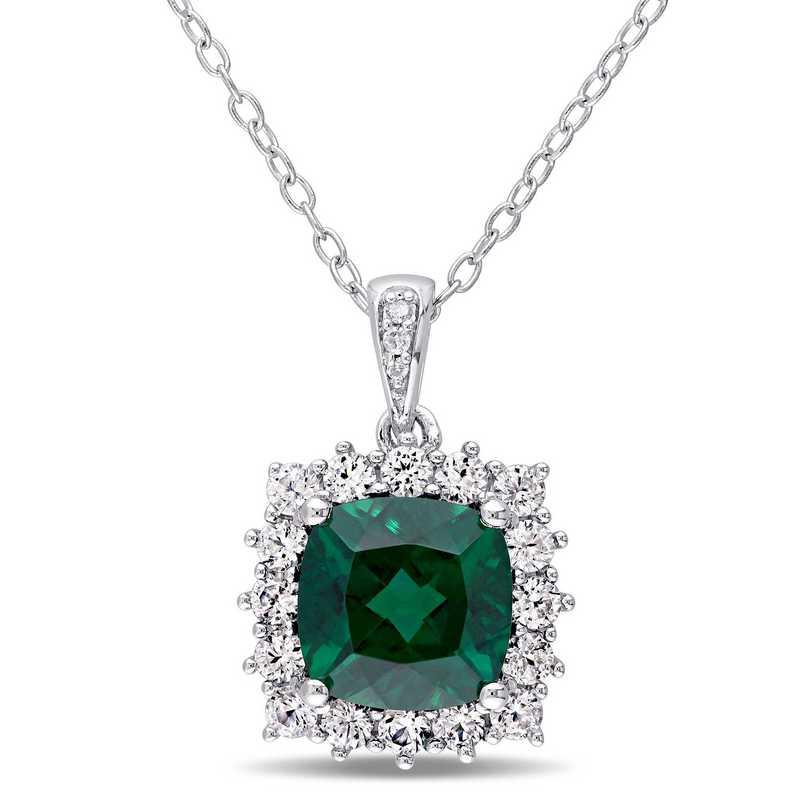 BAL000319:  Emerald,  Wht Sapphire  Dmnd-Accent Halo NCK  SS