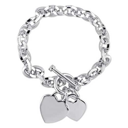 BAL000383: Heart Charm Bracelet in Sterling Silver
