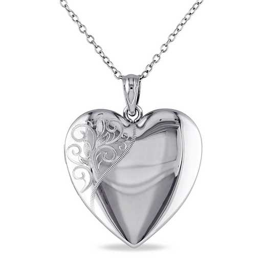 BAL000436: Engraved Heart Locket Necklace Polished SS