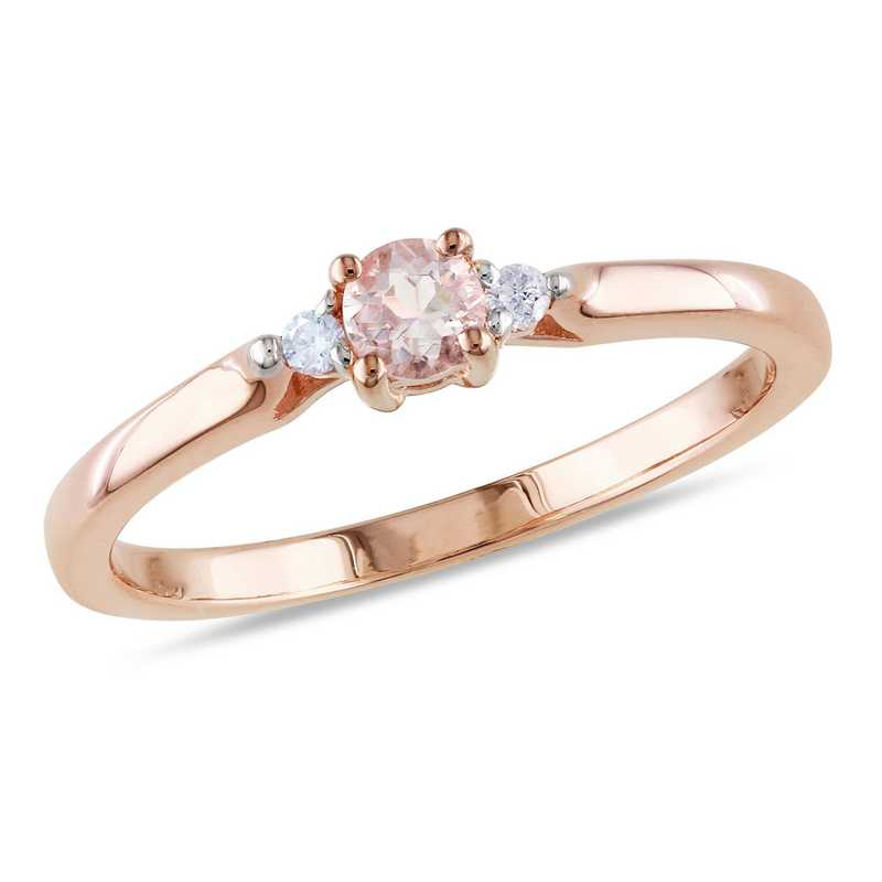 Morganite and Diamond Accent Three-Stone Ring in Rose Gold Flash Plated Sterling Silver